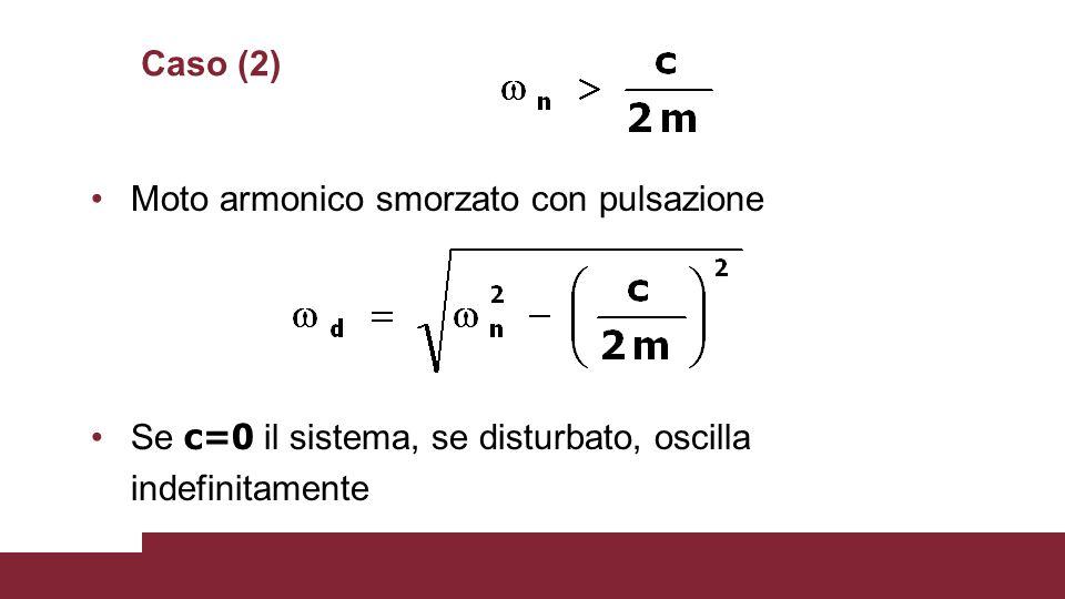 Caso (2) Moto armonico smorzato con pulsazione Se c=0 il sistema, se disturbato, oscilla indefinitamente