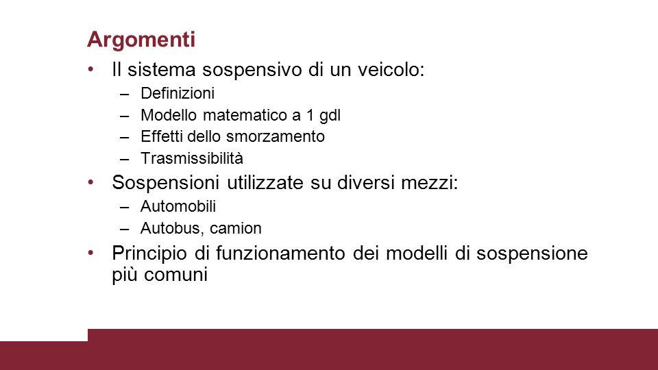 Il sistema sospensivo di un veicolo: –Definizioni –Modello matematico a 1 gdl –Effetti dello smorzamento –Trasmissibilità Sospensioni utilizzate su di