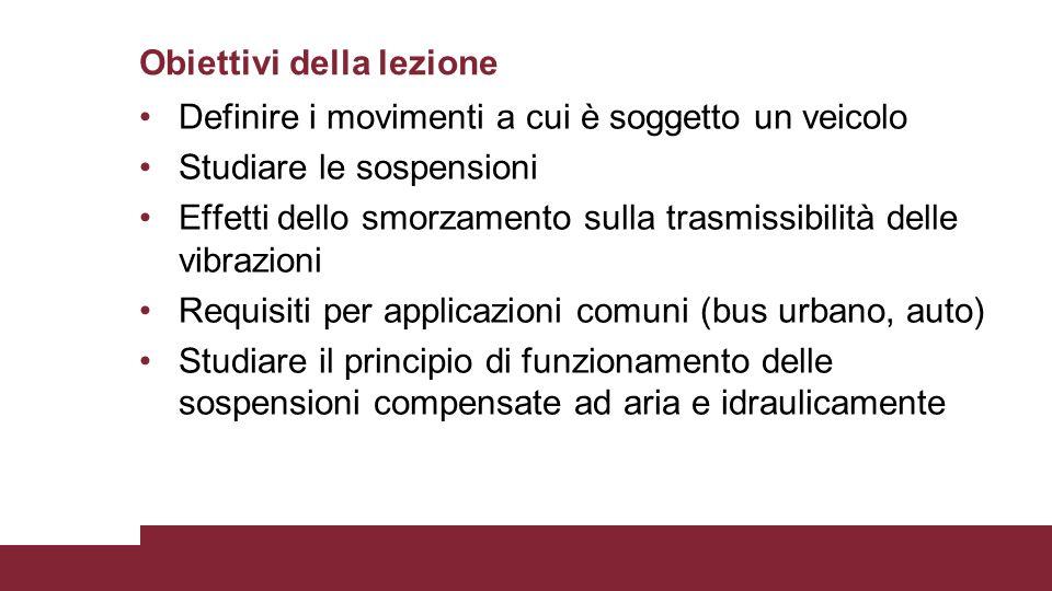 Definire i movimenti a cui è soggetto un veicolo Studiare le sospensioni Effetti dello smorzamento sulla trasmissibilità delle vibrazioni Requisiti pe