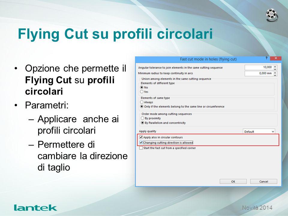 Flying Cut su profili circolari Opzione che permette il Flying Cut su profili circolari Parametri: –Applicare anche ai profili circolari –Permettere d