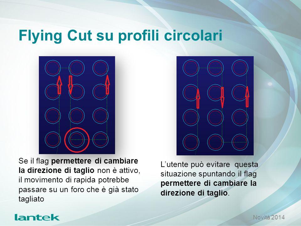 Flying Cut su profili circolari Se il flag permettere di cambiare la direzione di taglio non è attivo, il movimento di rapida potrebbe passare su un f