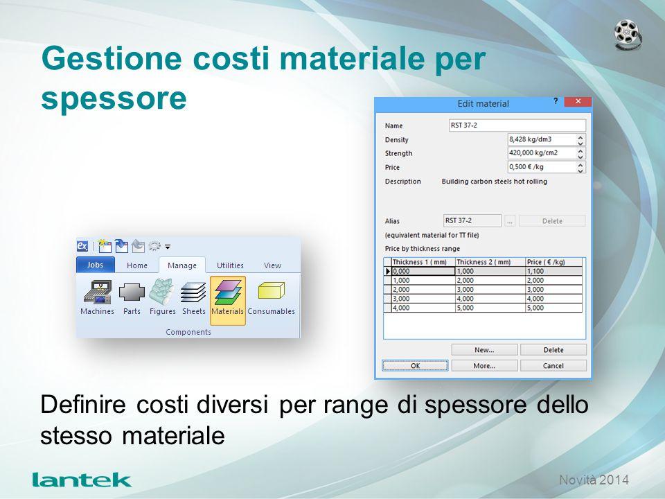 Gestione costi materiale per spessore Definire costi diversi per range di spessore dello stesso materiale Novità 2014