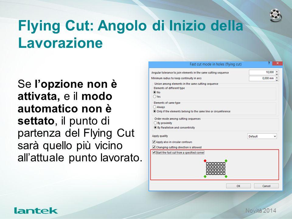 Flying Cut: Angolo di Inizio della Lavorazione Se l'opzione non è attivata, e il modo automatico non è settato, il punto di partenza del Flying Cut sa