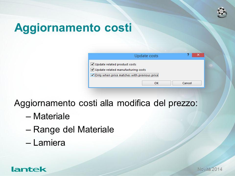 Aggiornamento costi Aggiornamento costi alla modifica del prezzo: –Materiale –Range del Materiale –Lamiera Novità 2014