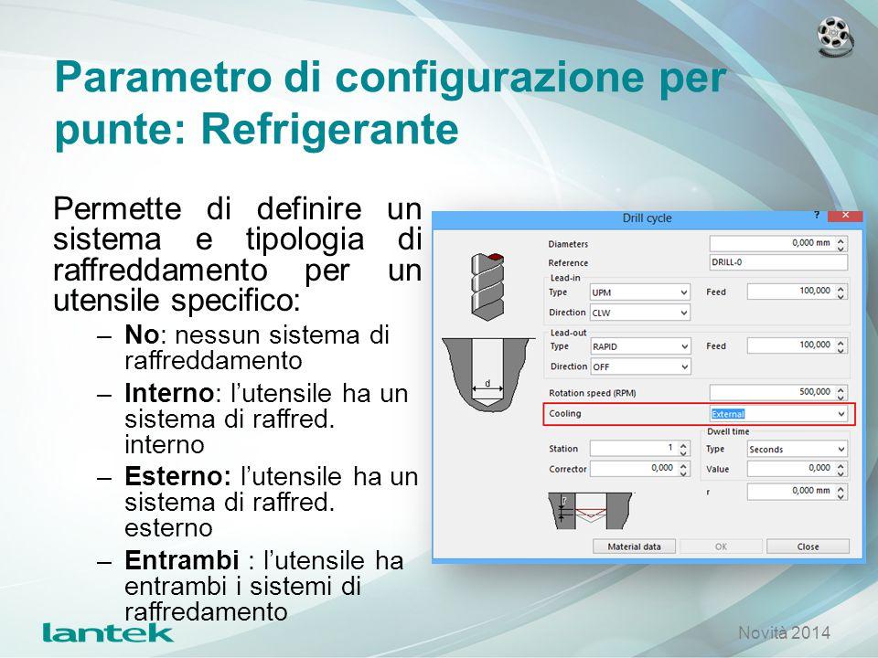 Parametro di configurazione per punte: Refrigerante Permette di definire un sistema e tipologia di raffreddamento per un utensile specifico: –No: ness