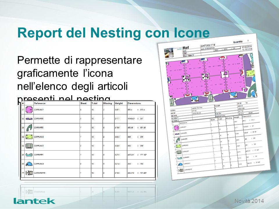 Report del Nesting con Icone Permette di rappresentare graficamente l'icona nell'elenco degli articoli presenti nel nesting Novità 2014