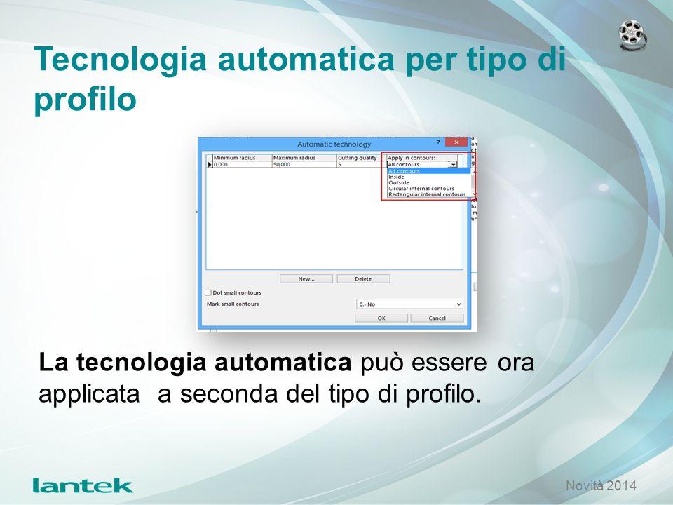 Tecnologia automatica per tipo di profilo La tecnologia automatica può essere ora applicata a seconda del tipo di profilo. Novità 2014