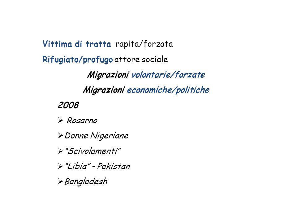Vittima di tratta rapita/forzata Rifugiato/profugo attore sociale Migrazioni volontarie/forzate Migrazioni economiche/politiche 2008  Rosarno  Donne Nigeriane  Scivolamenti  Libia - Pakistan  Bangladesh
