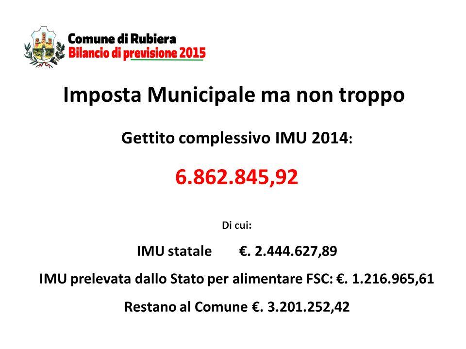 Gettito complessivo IMU 2014 : 6.862.845,92 Di cui: IMU statale €.