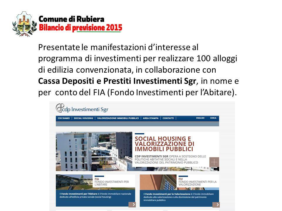 Presentate le manifestazioni d'interesse al programma di investimenti per realizzare 100 alloggi di edilizia convenzionata, in collaborazione con Cassa Depositi e Prestiti Investimenti Sgr, in nome e per conto del FIA (Fondo Investimenti per l'Abitare).