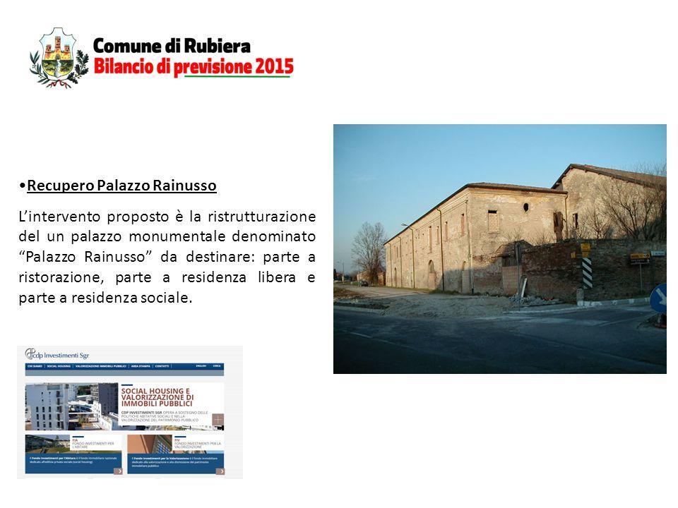 Recupero Palazzo Rainusso L'intervento proposto è la ristrutturazione del un palazzo monumentale denominato Palazzo Rainusso da destinare: parte a ristorazione, parte a residenza libera e parte a residenza sociale.