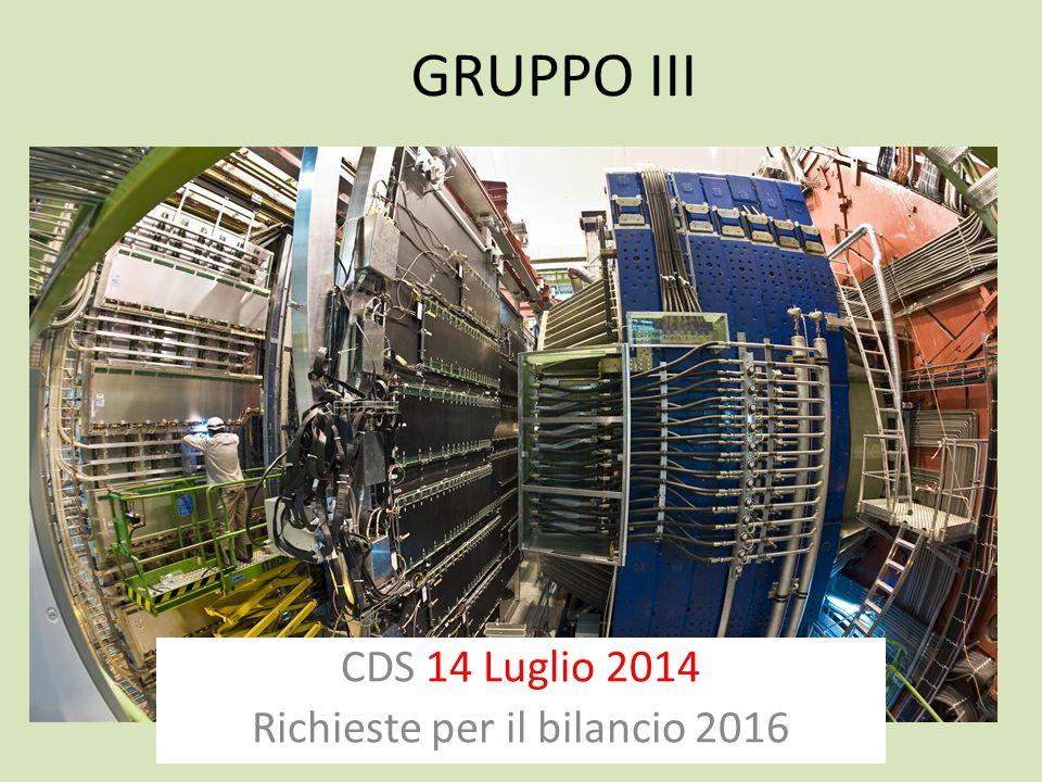 GRUPPO III CDS 14 Luglio 2014 Richieste per il bilancio 2016