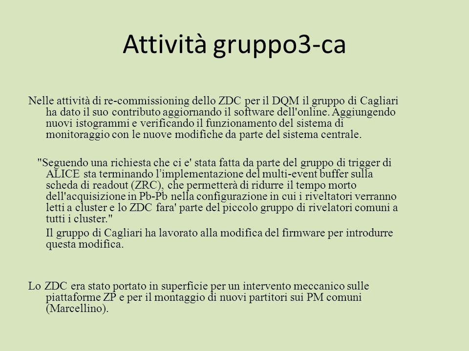 Attività gruppo3-ca Nelle attività di re-commissioning dello ZDC per il DQM il gruppo di Cagliari ha dato il suo contributo aggiornando il software dell online.