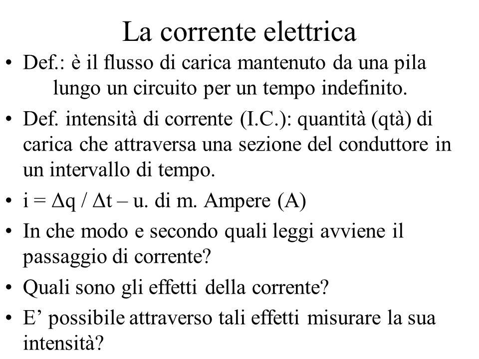 La corrente elettrica Def.: è il flusso di carica mantenuto da una pila lungo un circuito per un tempo indefinito.