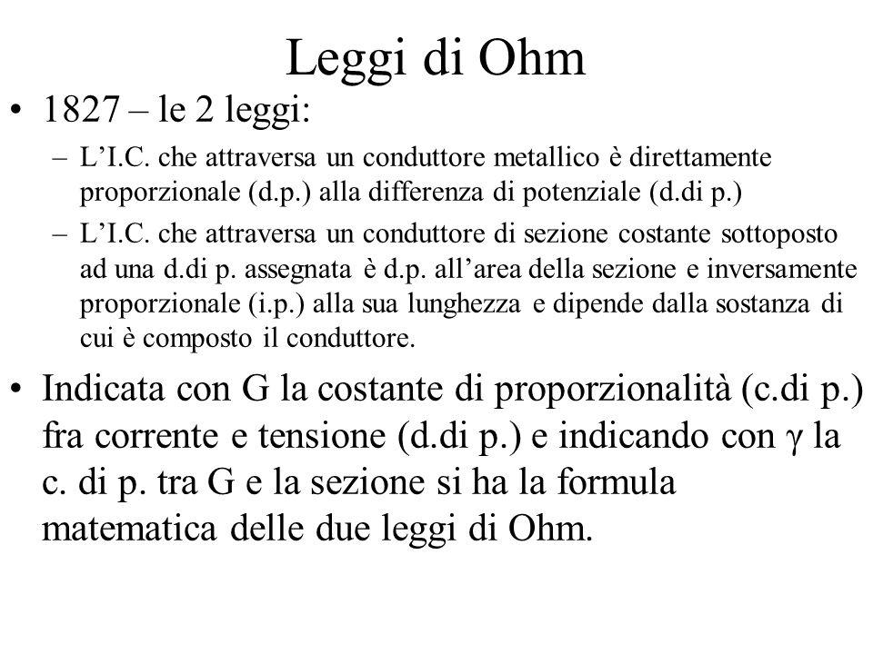 Leggi di Ohm 1827 – le 2 leggi: –L'I.C.