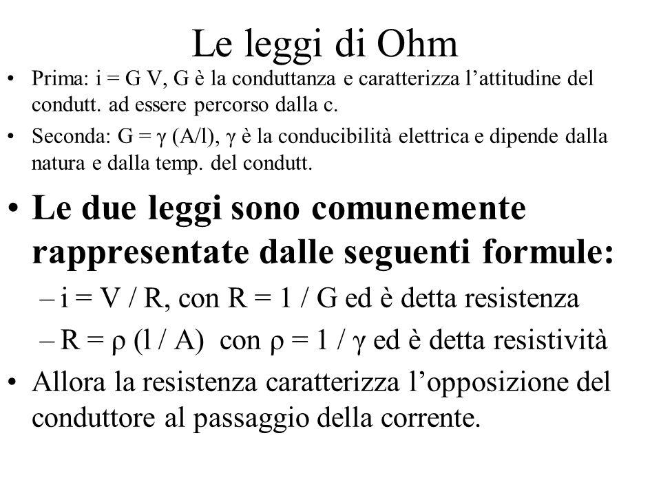 Le leggi di Ohm Prima: i = G V, G è la conduttanza e caratterizza l'attitudine del condutt.