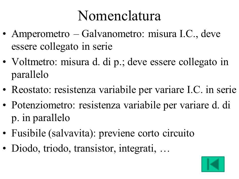 Nomenclatura Amperometro – Galvanometro: misura I.C., deve essere collegato in serie Voltmetro: misura d.