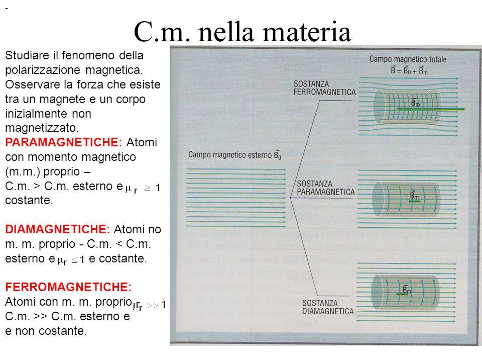 C.m.nella materia Studiare il fenomeno della polarizzazione magnetica.
