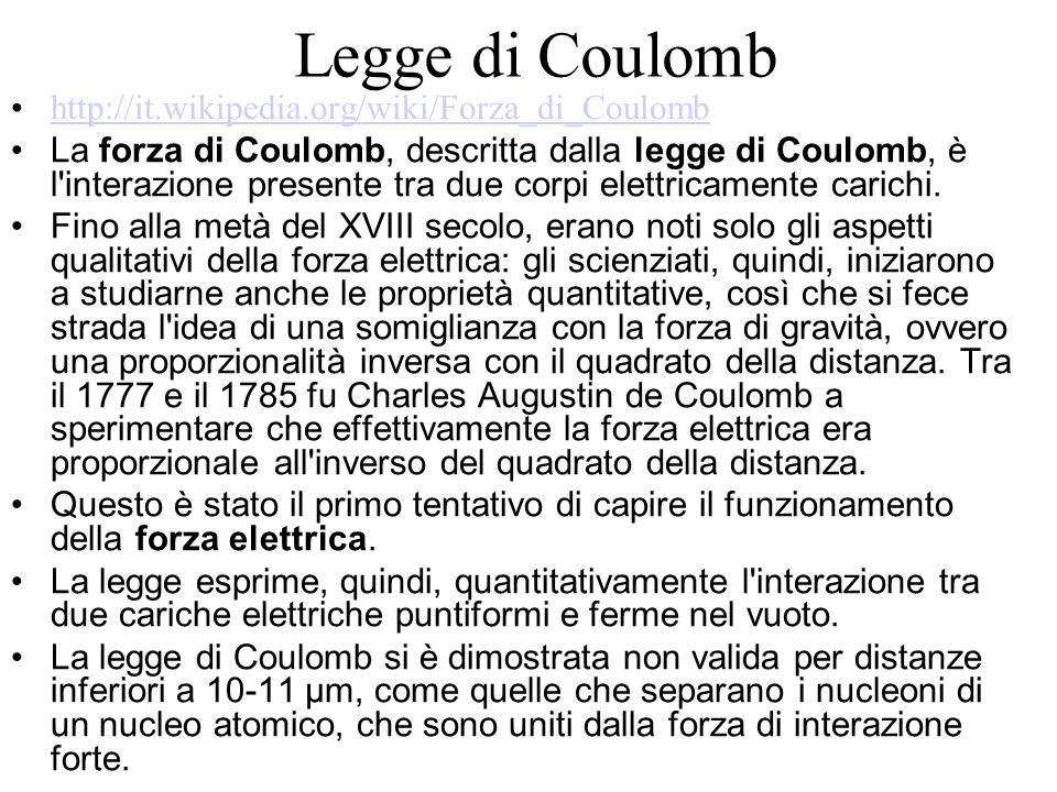 Legge di Coulomb http://it.wikipedia.org/wiki/Forza_di_Coulomb La forza di Coulomb, descritta dalla legge di Coulomb, è l interazione presente tra due corpi elettricamente carichi.