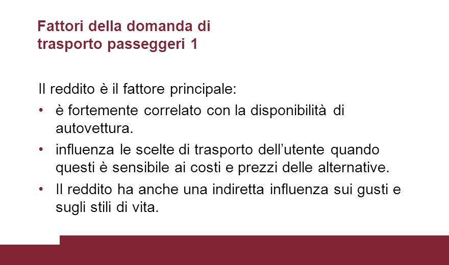 Fattori della domanda di trasporto passeggeri 1 Il reddito è il fattore principale: è fortemente correlato con la disponibilità di autovettura.