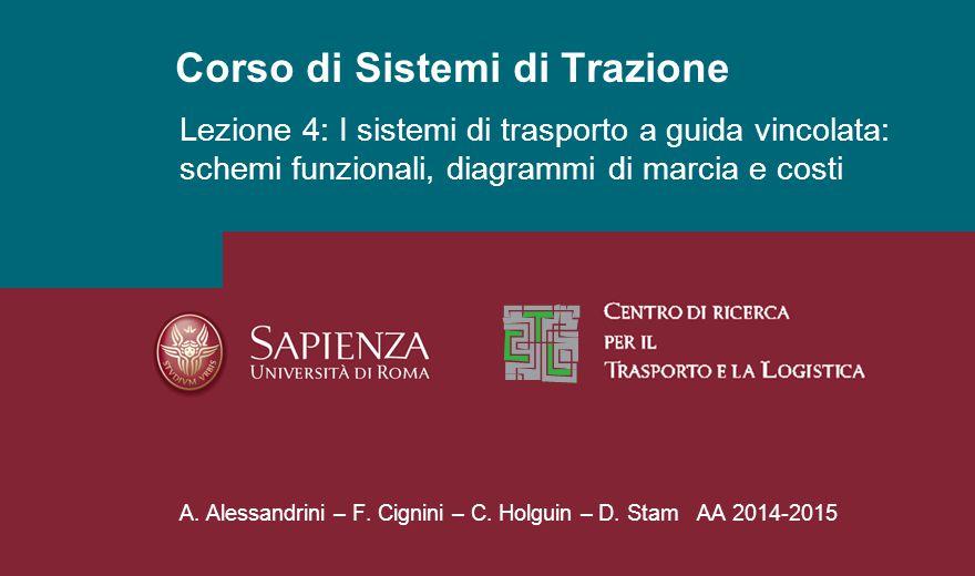 Corso di Sistemi di Trazione A. Alessandrini – F. Cignini – C. Holguin – D. Stam AA 2014-2015 Lezione 4: I sistemi di trasporto a guida vincolata: sch