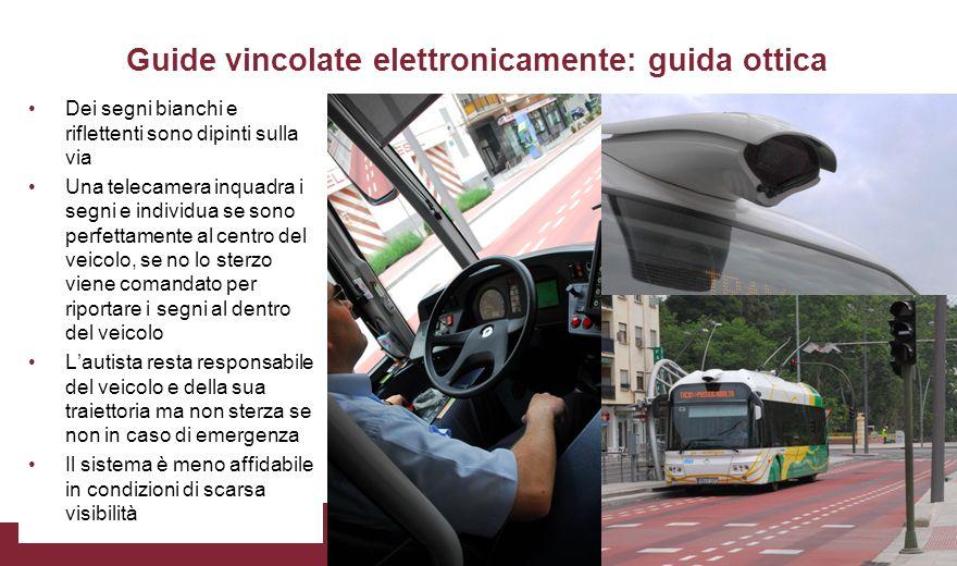 Guide vincolate elettronicamente: guida ottica Dei segni bianchi e riflettenti sono dipinti sulla via Una telecamera inquadra i segni e individua se s