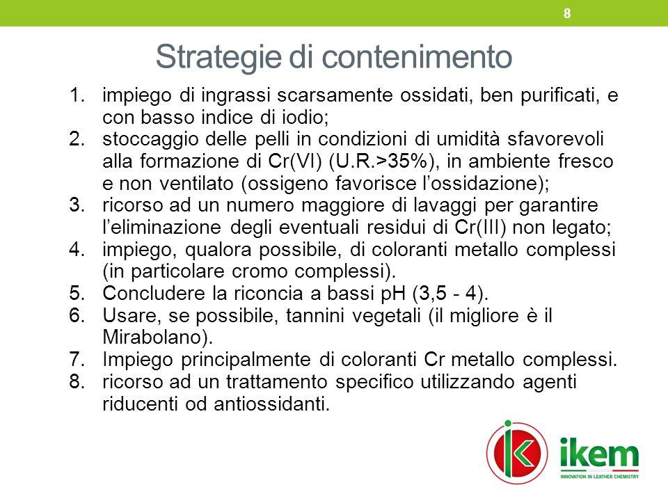 Strategie di contenimento 1.impiego di ingrassi scarsamente ossidati, ben purificati, e con basso indice di iodio; 2.stoccaggio delle pelli in condizioni di umidità sfavorevoli alla formazione di Cr(VI) (U.R.>35%), in ambiente fresco e non ventilato (ossigeno favorisce l'ossidazione); 3.ricorso ad un numero maggiore di lavaggi per garantire l'eliminazione degli eventuali residui di Cr(III) non legato; 4.impiego, qualora possibile, di coloranti metallo complessi (in particolare cromo complessi).
