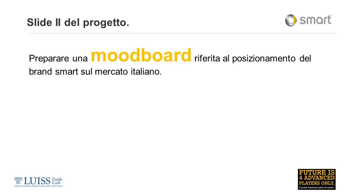 Slide II del progetto. Preparare una moodboard riferita al posizionamento del brand smart sul mercato italiano.