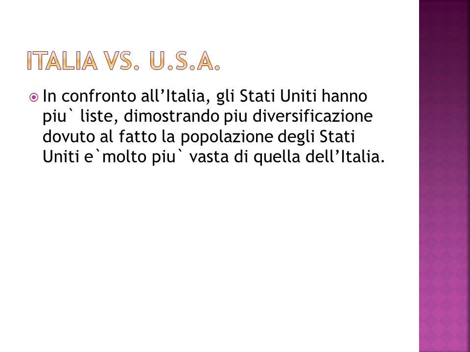  In confronto all'Italia, gli Stati Uniti hanno piu` liste, dimostrando piu diversificazione dovuto al fatto la popolazione degli Stati Uniti e`molto piu` vasta di quella dell'Italia.