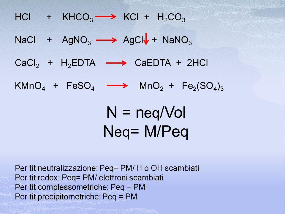HCl + KHCO 3 KCl + H 2 CO 3 NaCl + AgNO 3 AgCl + NaNO 3 CaCl 2 + H 2 EDTA CaEDTA + 2HCl KMnO 4 + FeSO 4 MnO 2 + Fe 2 (SO 4 ) 3 N = n eq /Vol N eq = M/