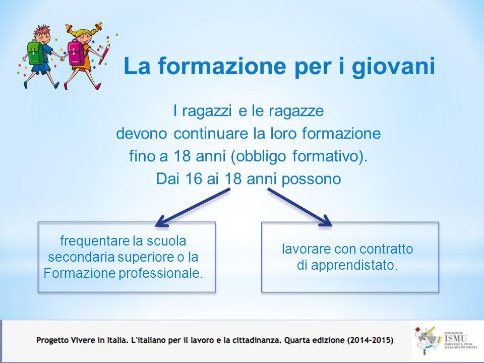 I ragazzi e le ragazze devono continuare la loro formazione fino a 18 anni (obbligo formativo). Dai 16 ai 18 anni possono La formazione per i giovani