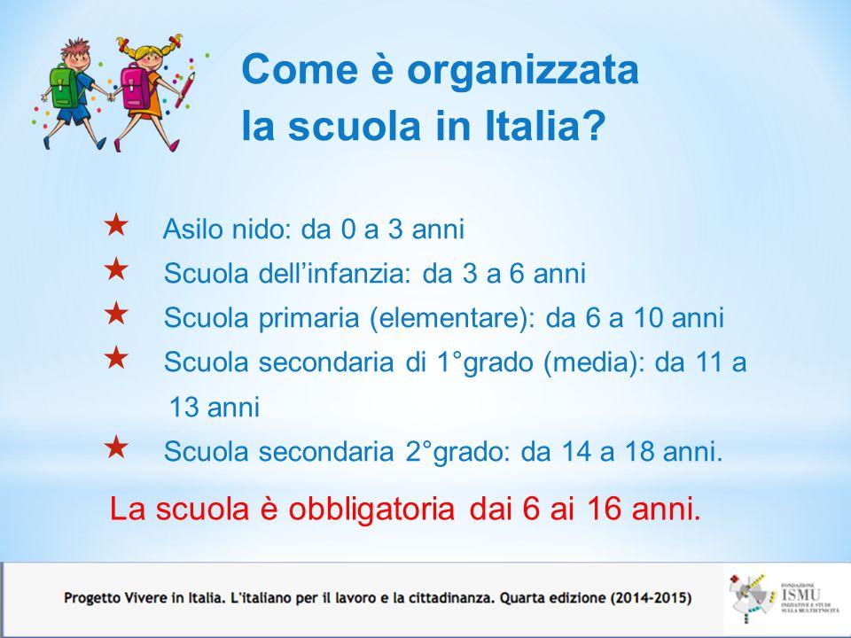 Come è organizzata la scuola in Italia?  Asilo nido: da 0 a 3 anni  Scuola dell'infanzia: da 3 a 6 anni  Scuola primaria (elementare): da 6 a 10 an
