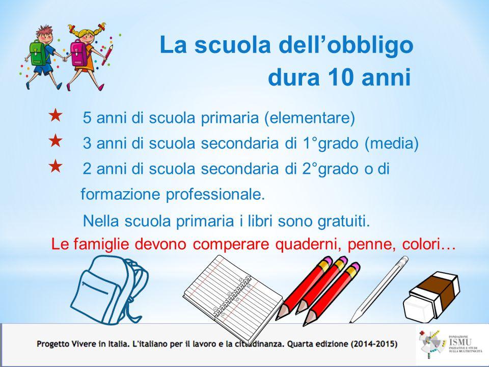 La scuola dell'obbligo dura 10 anni  5 anni di scuola primaria (elementare)  3 anni di scuola secondaria di 1°grado (media)  2 anni di scuola secon