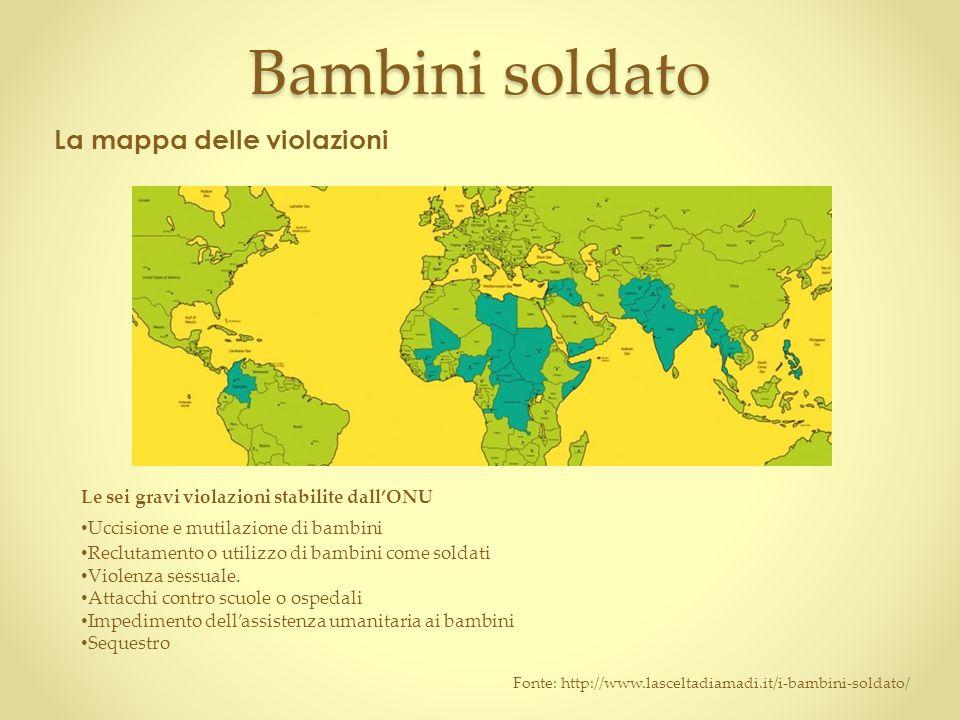 Bambini soldato La mappa delle violazioni Le sei gravi violazioni stabilite dall'ONU Uccisione e mutilazione di bambini Reclutamento o utilizzo di bambini come soldati Violenza sessuale.