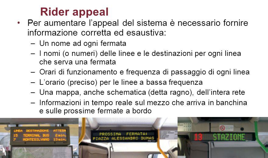 Rider appeal Per aumentare l'appeal del sistema è necessario fornire informazione corretta ed esaustiva: –Un nome ad ogni fermata –I nomi (o numeri) d