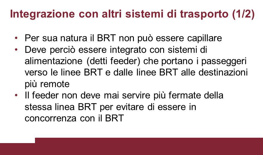 Integrazione con altri sistemi di trasporto (1/2) Per sua natura il BRT non può essere capillare Deve perciò essere integrato con sistemi di alimentaz