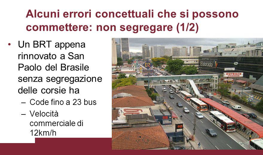 Alcuni errori concettuali che si possono commettere: non segregare (1/2) Un BRT appena rinnovato a San Paolo del Brasile senza segregazione delle cors