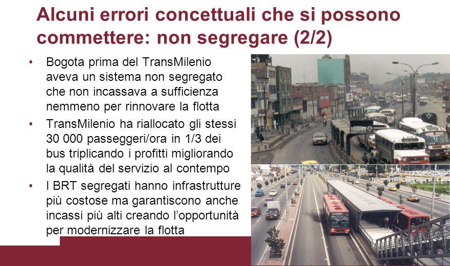 Alcuni errori concettuali che si possono commettere: non segregare (2/2) Bogota prima del TransMilenio aveva un sistema non segregato che non incassav