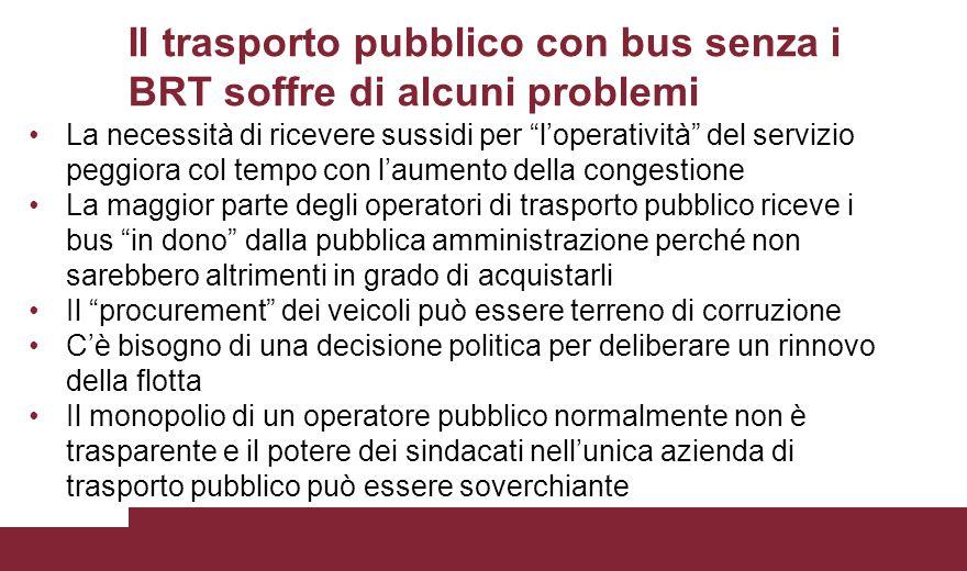 """Il trasporto pubblico con bus senza i BRT soffre di alcuni problemi La necessità di ricevere sussidi per """"l'operatività"""" del servizio peggiora col tem"""