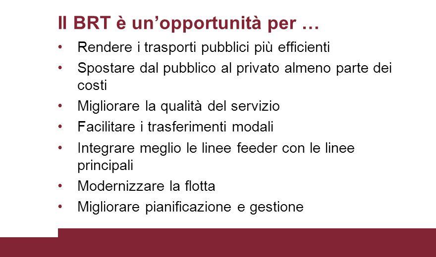 Il BRT è un'opportunità per … Rendere i trasporti pubblici più efficienti Spostare dal pubblico al privato almeno parte dei costi Migliorare la qualit
