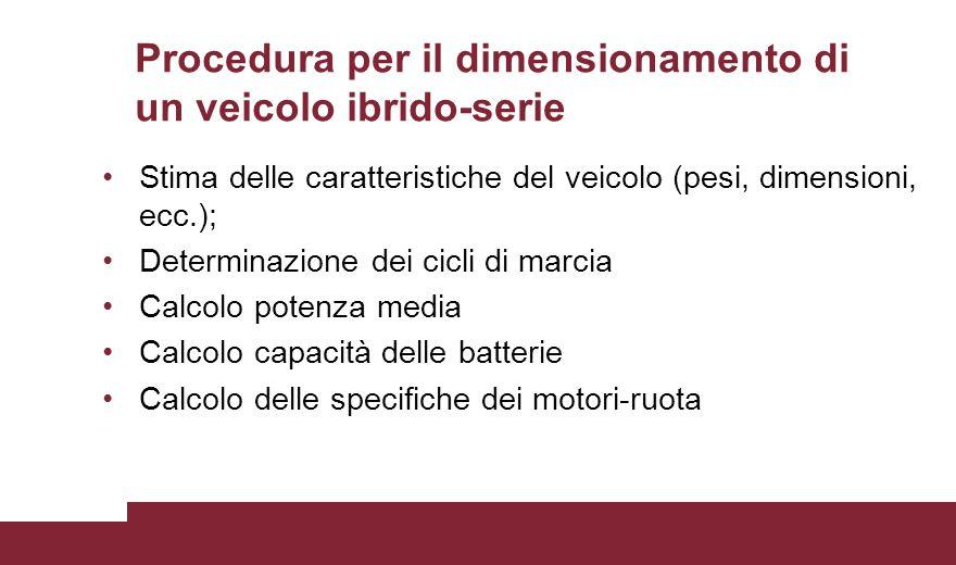 Procedura per il dimensionamento di un veicolo ibrido-serie Stima delle caratteristiche del veicolo (pesi, dimensioni, ecc.); Determinazione dei cicli