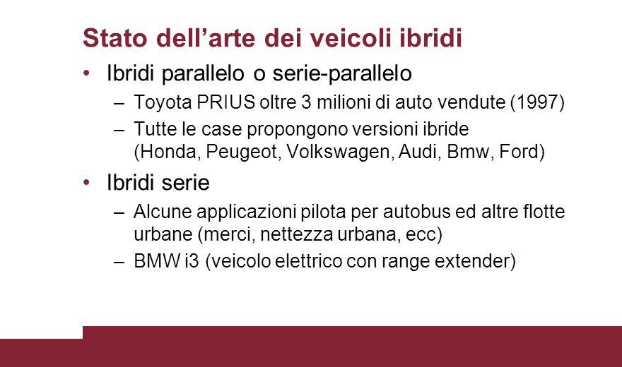Stato dell'arte dei veicoli ibridi Ibridi parallelo o serie-parallelo –Toyota PRIUS oltre 3 milioni di auto vendute (1997) –Tutte le case propongono v