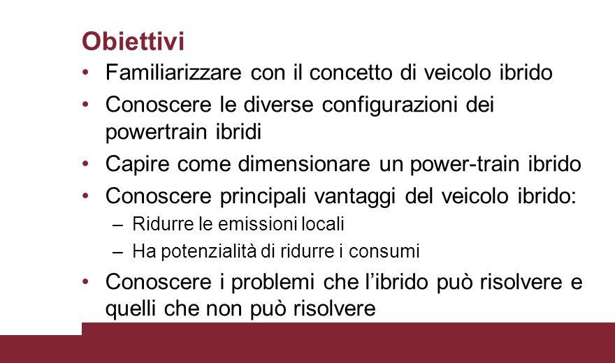 Obiettivi Familiarizzare con il concetto di veicolo ibrido Conoscere le diverse configurazioni dei powertrain ibridi Capire come dimensionare un power