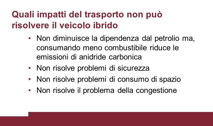 Quali impatti del trasporto non può risolvere il veicolo ibrido Non diminuisce la dipendenza dal petrolio ma, consumando meno combustibile riduce le e