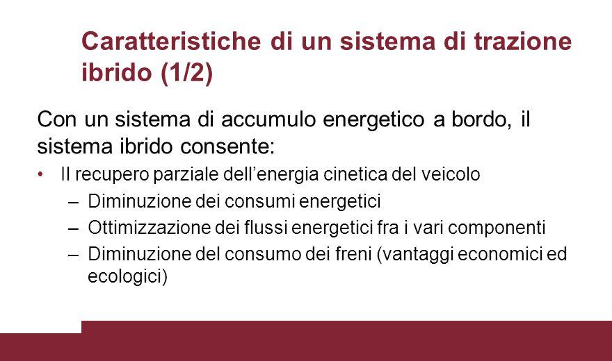 Caratteristiche di un sistema di trazione ibrido (1/2) Con un sistema di accumulo energetico a bordo, il sistema ibrido consente: Il recupero parziale