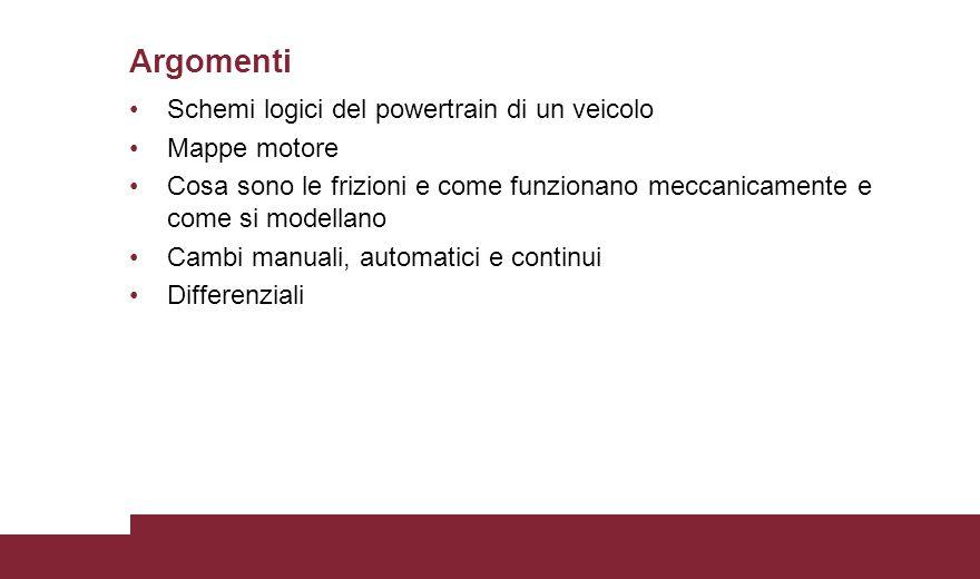 Schemi logici del powertrain di un veicolo Mappe motore Cosa sono le frizioni e come funzionano meccanicamente e come si modellano Cambi manuali, automatici e continui Differenziali Argomenti