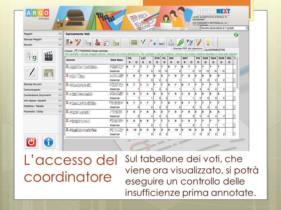 L'accesso del coordinatore Sul tabellone dei voti, che viene ora visualizzato, si potrà eseguire un controllo delle insufficienze prima annotate.