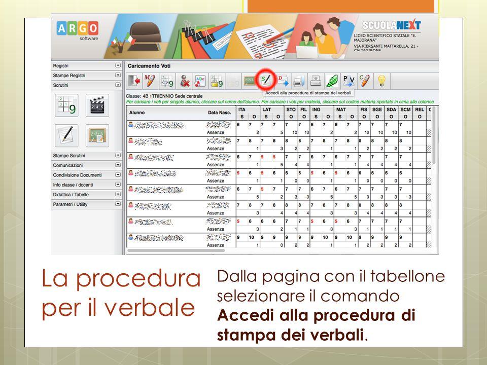 La procedura per il verbale Dalla pagina con il tabellone selezionare il comando Accedi alla procedura di stampa dei verbali.