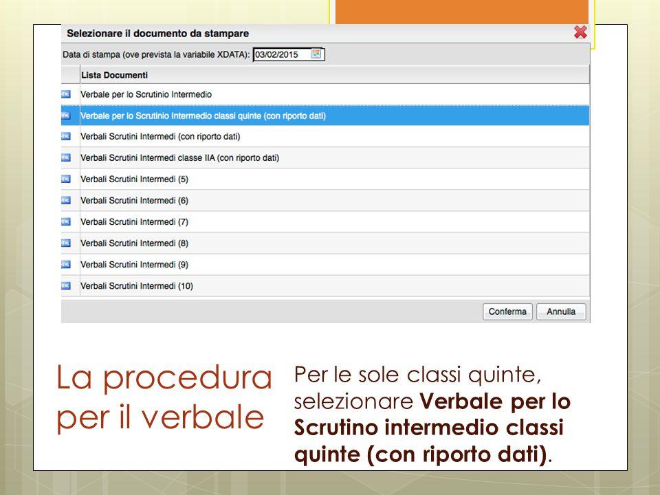 La procedura per il verbale Per le sole classi quinte, selezionare Verbale per lo Scrutino intermedio classi quinte (con riporto dati).