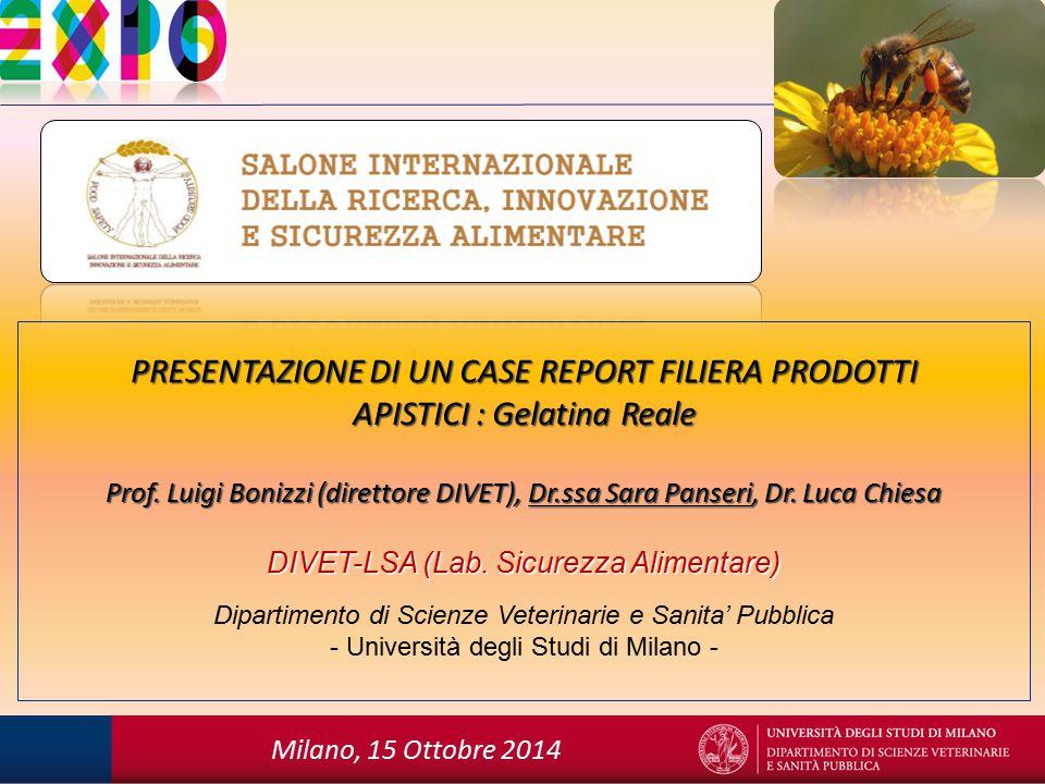 PRESENTAZIONE DI UN CASE REPORT FILIERA PRODOTTI APISTICI : Gelatina Reale Prof.